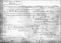 L.P. Barnfield and Emma Herley [Hurley] marriage license