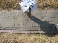 Carl and Katy Barnfield's grave marker in Trinity Memorial Park, Big Spring, Texas