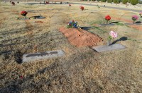 Family grave markers - Doug and Juanita's on the left and Carl and Katy Barnfield on right