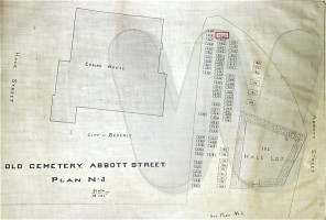 Abbott Street Burial Ground map showing Nicholas Woodbury's plot
