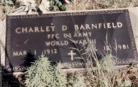 Charley D. Barnfield's grave marker