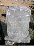 Julia Ann (Mustard) Snavely's tombstone in the Old Celina Cemetery