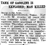 Newspaper article on Harvey Overby's death