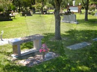 Bill and Gwen Barnfield's grave marker and bench