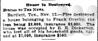 Article on house owned by Frank Overby destroyed by fire