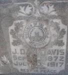 Detail of John Daniel Davis' tombstone