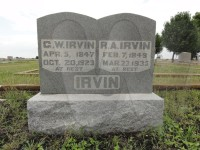 George W. Irvin and Rebecca Anna (Witt) Irvin's tombstone