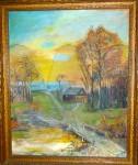 Oil painting of rural scene by Jane Banks