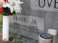 Detail of tombstone inscription for Frank Overby Jr.