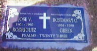 Jose Villegas Rodriguez and Rosemary Rodriguez Green Grave Marker
